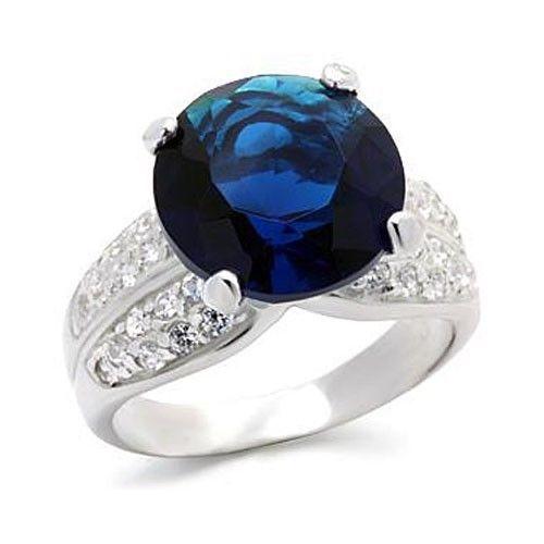Big 12mm Sapphire Blue Cubic Zirconia Ring- SIZE 8, 9, 10