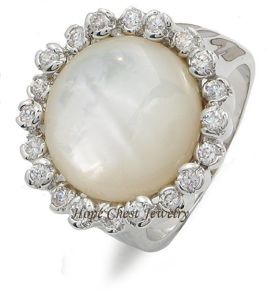 Synthetic Round Mother of Pearl Right Hand Cubic Zirconia Ring - SIZE 5 TO 10