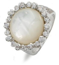 Synthetic Round Mother of Pearl Right Hand Cubic Zirconia Ring - SIZE 5 TO 10 image 1