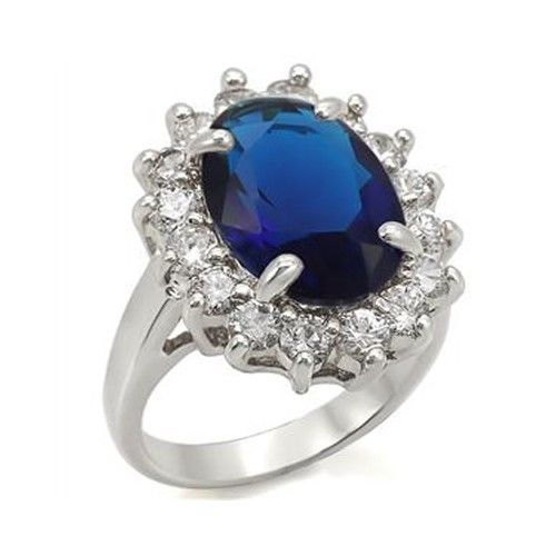 Kate Middleton Inspired Silver Tone Oval Blue CZ Ring - SIZE 5 - 10