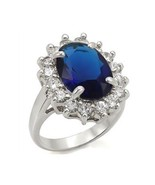 Kate Middleton Inspired Silver Tone Oval Blue CZ Ring - SIZE 5 - 10 - $17.54