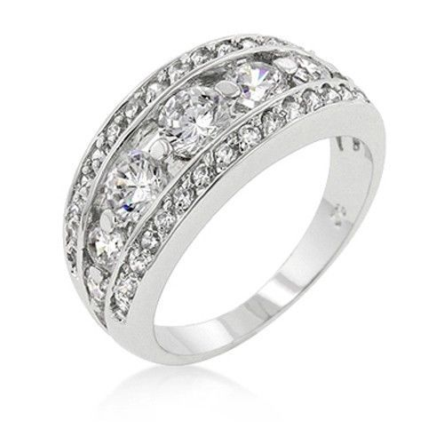 Silver Tone Bezel Setting Cubic Zirconia Band Ring - SIZE 9 (last one)