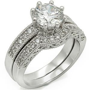 8 Prong Antique Inspired Cubic Zirconia Engagement Wedding Ring Set -SIZE 5 - 10 image 3