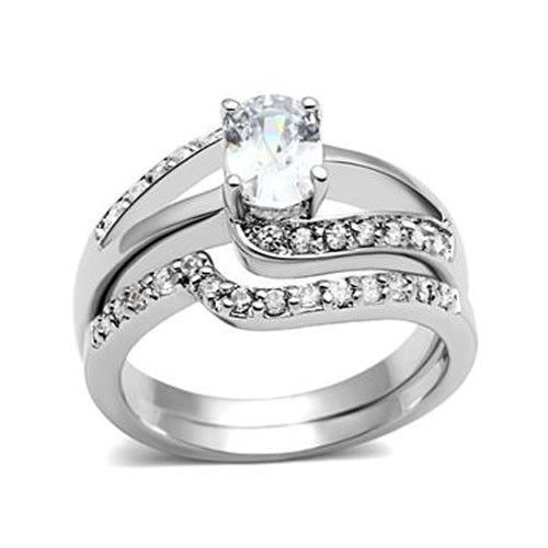 4 Prong Oval Shape Engagement and Wedding Cubic Zirconia Ring Set - SIZE 5 TO 10