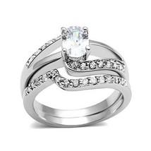 4 Prong Oval Shape Engagement and Wedding Cubic Zirconia Ring Set - SIZE 5 TO 10 image 1