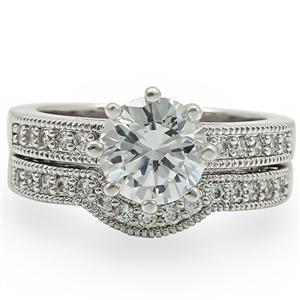 8 Prong Antique Inspired Cubic Zirconia Engagement Wedding Ring Set -SIZE 5 - 10 image 4
