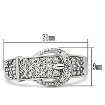 Silver Tone Belt Buckle Cubic Zirconia Right Hand Ring - SIZE 5 - 10 image 2
