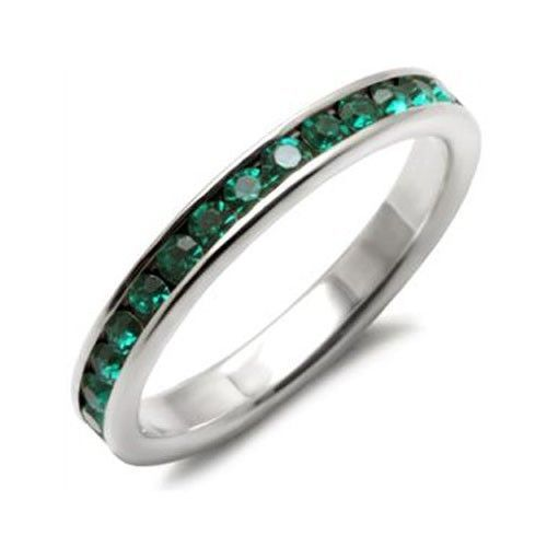 Sterling Silver May Birthstone Emerald Green Crystal Band Ring - SIZE 5, 6