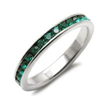 Sterling Silver May Birthstone Emerald Green Crystal Band Ring - SIZE 5, 6 image 1