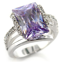 Light Amethyst CZ Solitaire With Pave CZ Sides Ring - SIZE 5 OR OTHER SIZES image 2