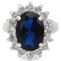 Kate Middleton Inspired Silver Tone Oval Blue CZ Ring - SIZE 5 - 10 image 2