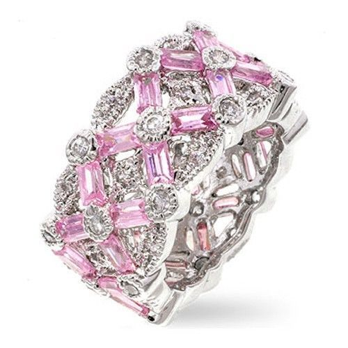 Pink Baguette & White Cubic Zirconia Right Hand Band Ring - SIZE 7, 8