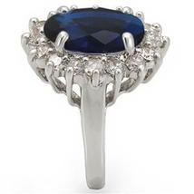 Kate Middleton Inspired Silver Tone Oval Blue CZ Ring - SIZE 5 - 10 image 3
