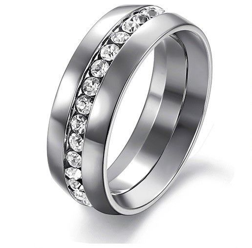 Women's Never Fade 7mm Stainless Steel Crystal Eternity Wedding Band SIZE 7, 9
