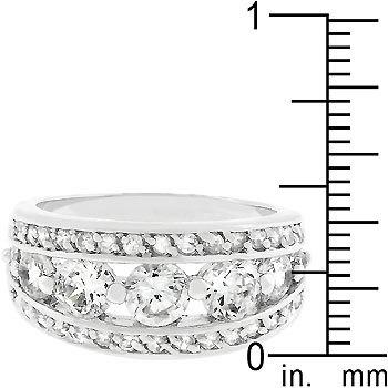 Silver Tone Bezel Setting Cubic Zirconia Band Ring - SIZE 9 (last one) image 3