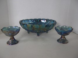 VINTAGE BLUE INDIANA CARNIVAL GLASS CONSOLE BOWL & PAIR OF MATCHING CAND... - $49.49