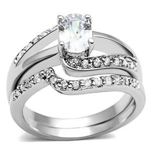 4 Prong Oval Shape Engagement and Wedding Cubic Zirconia Ring Set - SIZE 5 TO 10 image 2