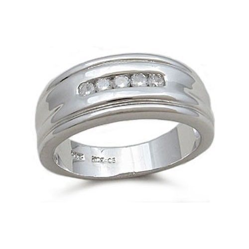 Sterling Silver Cubic Zirconia Men's Wedding Ring - SIZE 10 (LAST ONE)