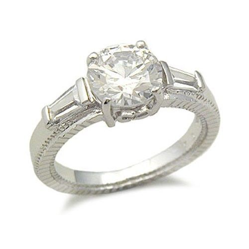STERLING SILVER Round Cut Three Stone CZ Engagement Ring - SIZE 9