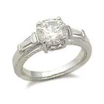 STERLING SILVER Round Cut Three Stone CZ Engagement Ring - SIZE 9 image 1