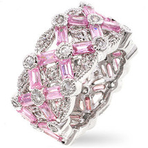 Pink Baguette & White Cubic Zirconia Right Hand Band Ring - SIZE 7, 8 image 2
