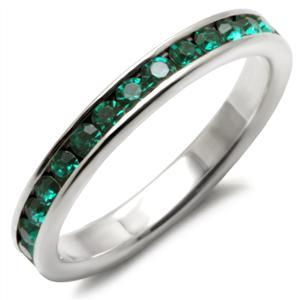 Sterling Silver May Birthstone Emerald Green Crystal Band Ring - SIZE 5, 6 image 2