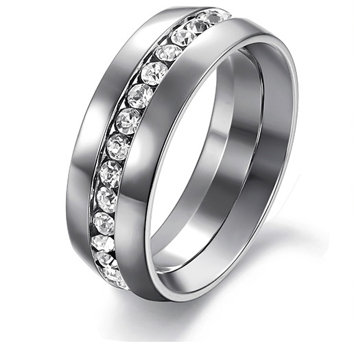 Women's Never Fade 7mm Stainless Steel Crystal Eternity Wedding Band SIZE 7, 9 image 2