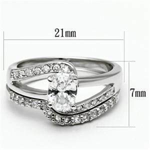 4 Prong Oval Shape Engagement and Wedding Cubic Zirconia Ring Set - SIZE 5 TO 10 image 3