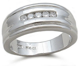 Sterling Silver Cubic Zirconia Men's Wedding Ring - SIZE 10 (LAST ONE) image 2