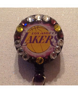 Nba Los Angeles Lakers Badge Reel Id Holder Swarovski Purple Alligator C... - $10.99