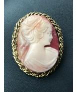 Vintage Carved Pink & Orange Seashell Oval Cameo in Goldtone Twist Frame... - $14.89
