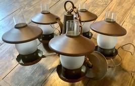 VTg Light fixture Brass copper Ceiling CHANDELIER shades hanging wagon w... - $148.49