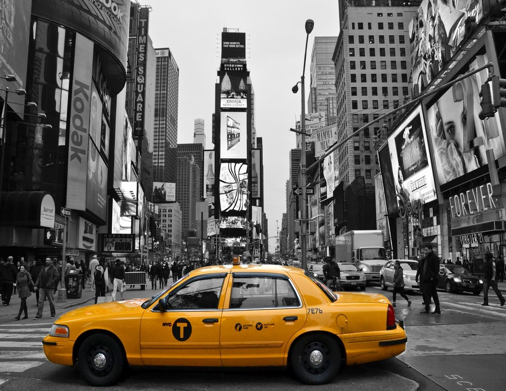 New York City Black and White Wall Decor Times Square Taxi Print