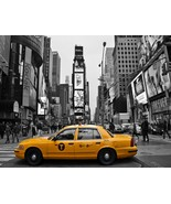 New York City Black and White Wall Decor Times Square Taxi Print - $110.00