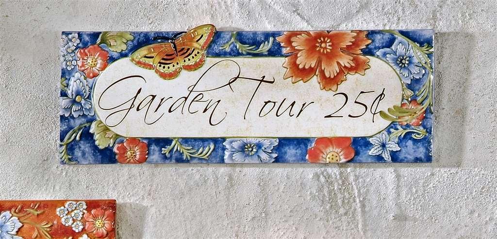 "14.2"" Ceramic Garden Tour 25 cents Wall Plaque Blue"