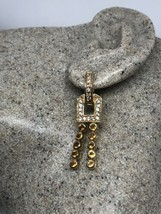 Vintage Deco Citrine Earrings Gold 925 Sterling Silver - $114.81