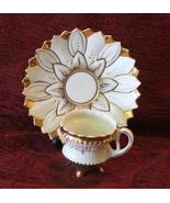 Gold and White Mum Porcelain Footed Tea Cup and Saucer - $24.99