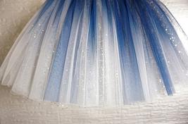 Women Girl Frozen Tutu Skirt Silver Blue Layered Puffy Tutu Skirt image 5