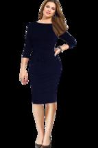 Unomatch Women's Half Sleeves Slim Bodycon Pencil Skirt Dress Navy - $28.99