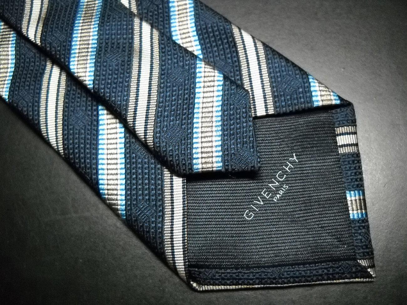 Givenchy Paris Neck Tie Diagonal Stripes Blue Italian