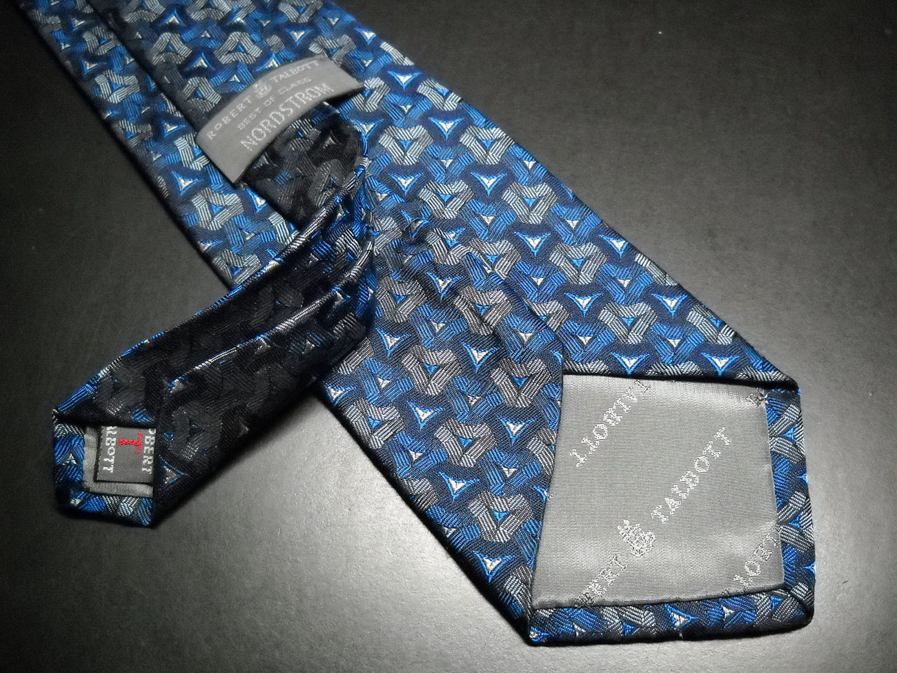 Robert Talbott Best Of Class Neck Tie Bright Blues and Silvers Hand Sewn Silk