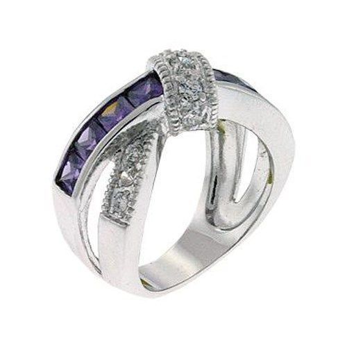 DESIGNER CZ RING - Amethyst Purple & White CZ Ring - SIZE 6 OR OTHER SIZES