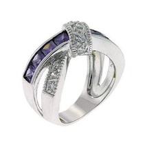DESIGNER CZ RING - Amethyst Purple & White CZ Ring - SIZE 6 OR OTHER SIZES image 1