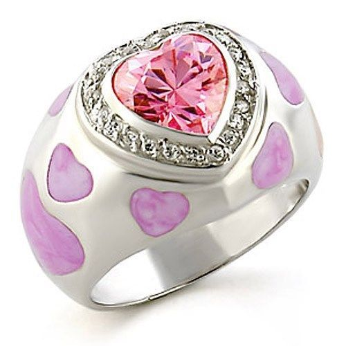 Sterling Silver Epoxy Pink Heart Cubic Zirconia Ring Size 6 - CLEARANCE