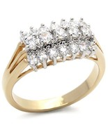 Two Tone Three Row Cubic Zirconia Ring SIZE 5, 6 (LAST ONES) - $16.34