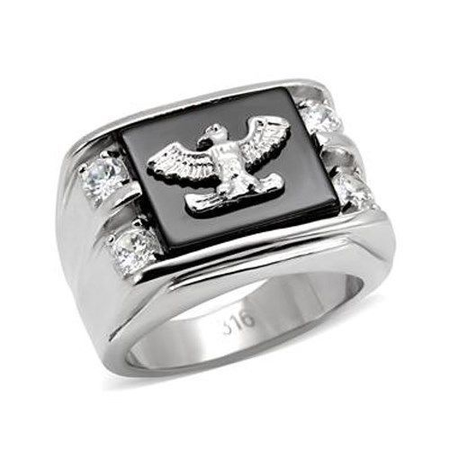 Stainless Steel Genuine Semi-Precious Onyx Eagle Ring for Men SIZE 8 - 13