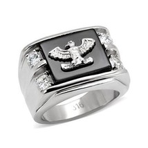 Stainless Steel Genuine Semi-Precious Onyx Eagle Ring for Men SIZE 8 - 13 image 1