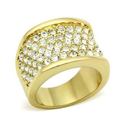 Gold Tone Gorgeous Cubic Zirconia Right Hand Band Ring - SIZE 5 (LAST ONE)