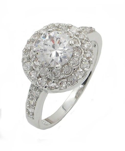 Round CZ Solitaire with Small CZ Engagement Ring - SIZE 6,8,9