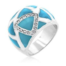 CLEARANCE - Silver Tone Blue and White Enamel Cubic Zirconia Ring - SIZE 5 image 1